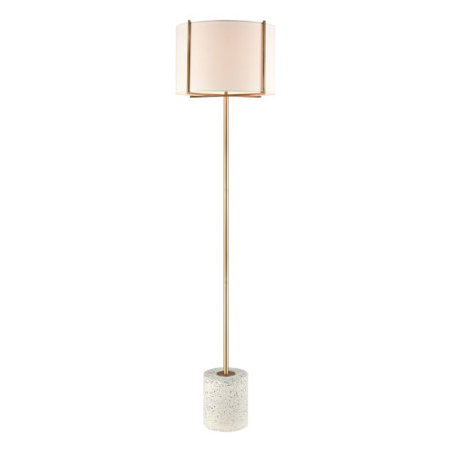 Trussed White Terazzo with Gold One-Light Floor Lamp