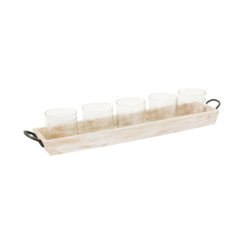 Linwood Whitewashed Wood, Hammered Clear and Antique Zinc 5-Inch Centerpiece Candle Holder