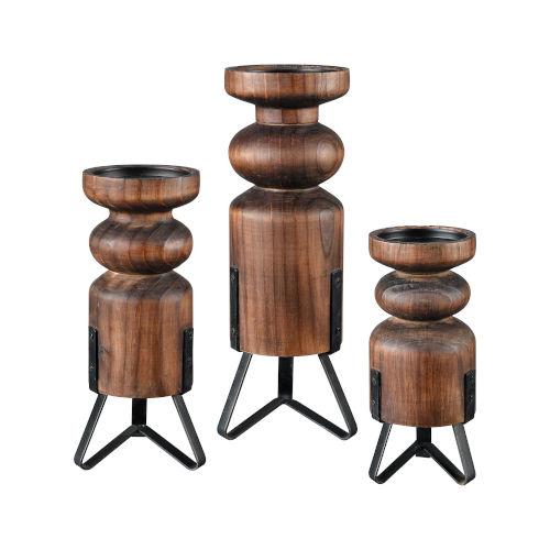 Stilton Burnished Pine and Antique Black 16-Inch Pillars Candle Holder, Set of 3
