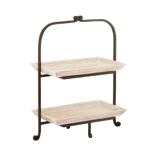 Linwood Whitewashed Wood and Antique Zinc 20-Inch Two-Tier Server