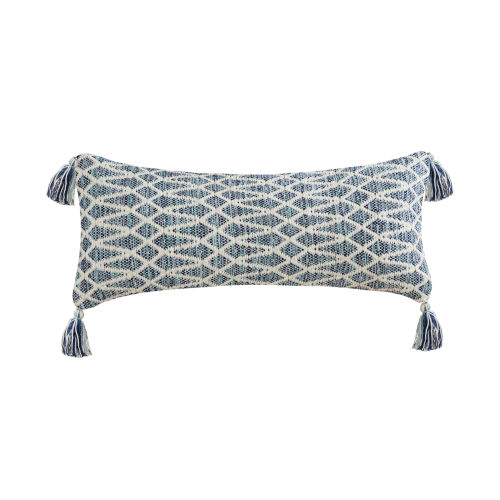 Hester Light Blue and White 14-Inch 14 x 32 In. Pillow