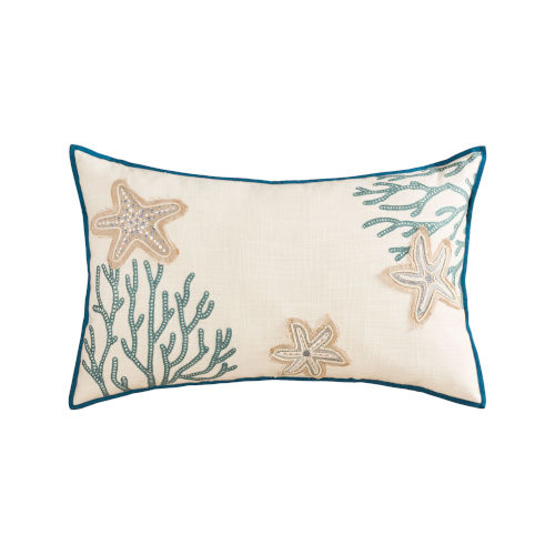Beachcrest Light Blue, Sand and Off-white 16-Inch 16 x 26 In. Pillow