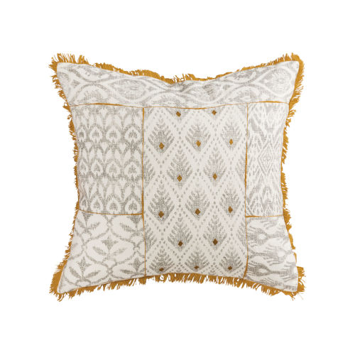 Sonnet Earthy Mustard, Grey and Off-white 20-Inch 20 x 20 In. Pillow