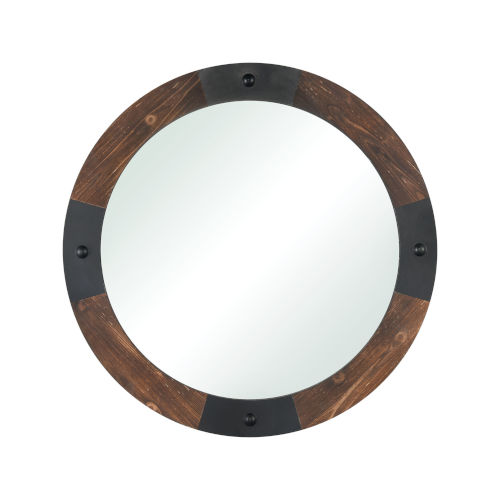 Stilton Burnished Fir and Antique Black 36-Inch Round Wall Mirror