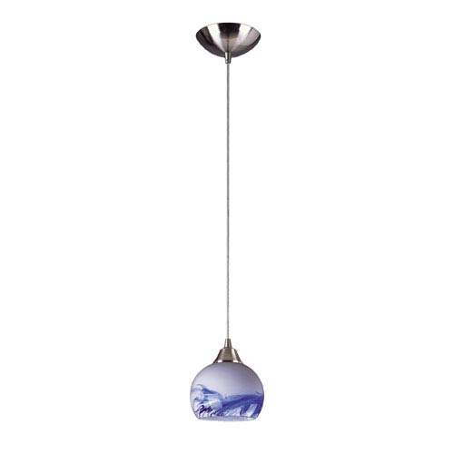 Mela One Light LED Pendant In Satin Nickel And Mountain Glass