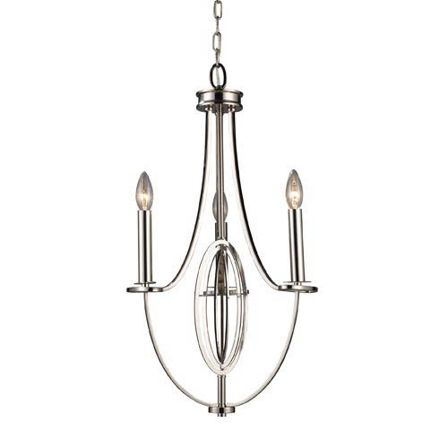 Dione Polished Nickel Three-Light Chandelier