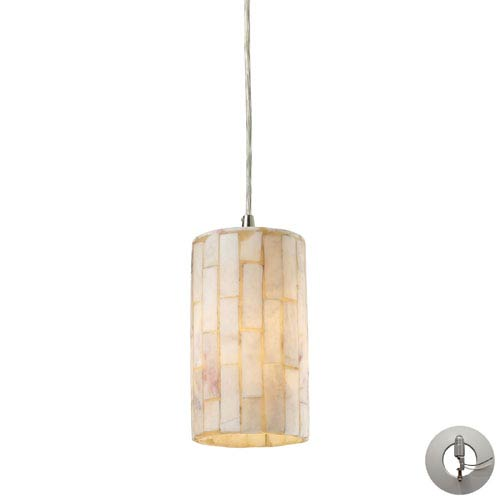 Elk Lighting Piedra One Light Genuine Stone Pendant In Satin Nickel Includes w/ An Adapter Kit