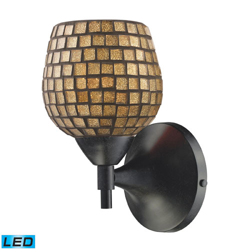 Elk Lighting Celina One Light LED Sconce In Dark Rust With Gold Glass