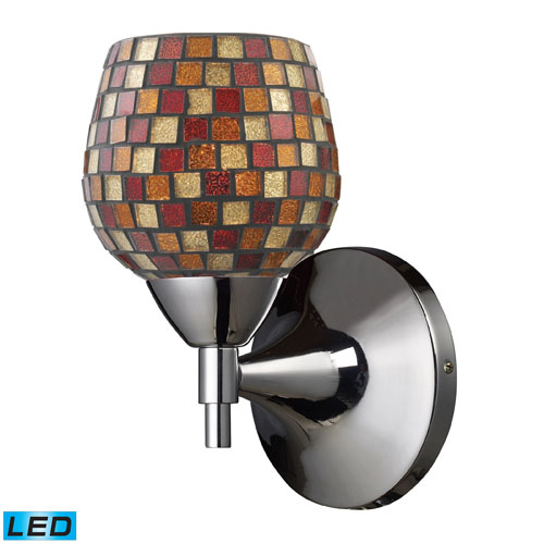 Celina One Light LED Wall Sconce In Polished Chrome With Multi Fusion Glass