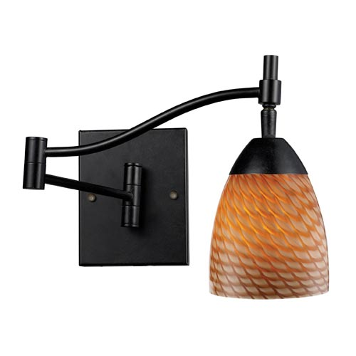 Celina Dark Rust Swing-Arm Sconce with Coco Glass