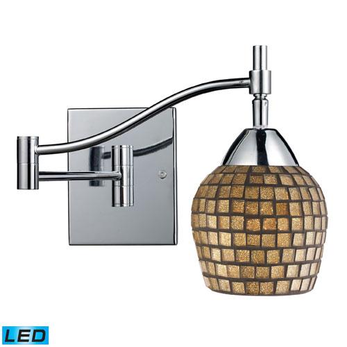 Elk Lighting Celina One Light LED Swingarm Wall Sconce In Polished Chrome And Gold Leaf Glass