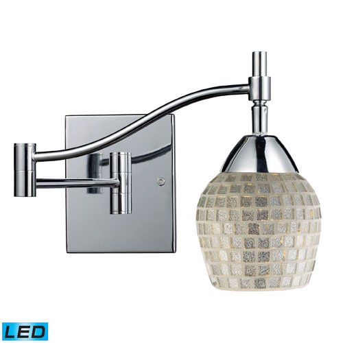 Celina One Light LED Swingarm Wall Sconce In Polished Chrome And Silver Glass
