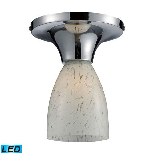 Elk Lighting Celina One Light LED Semi-Flush In Polished Chrome And Snow White Glass