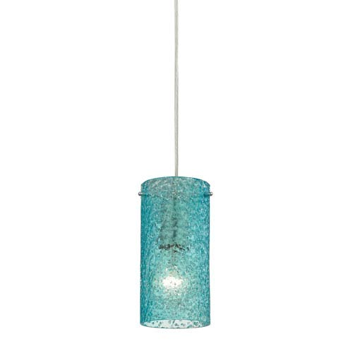 Ice Fragments Satin Nickel One-Light Mini Pendant with Aqua Glass