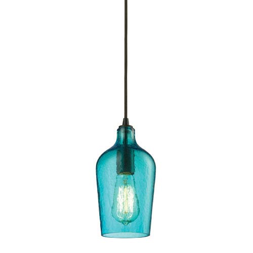 Elk Lighting Hammered Aqua Glass Oil Rubbed Bronze One Light Mini Pendant