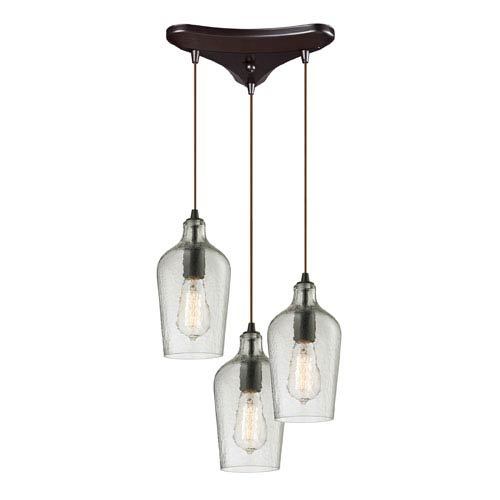 Hammered Glass Oil Rubbed Bronze 10-Inch Three Light Chandelier