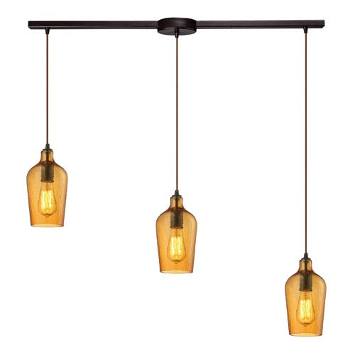Hammered Amber Glass Oil Rubbed Bronze 8-Inch Three Light Chandelier