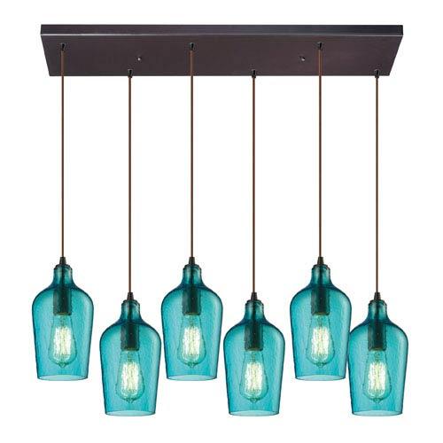 Elk Lighting Hammered Aqua Glass Oil Rubbed Bronze 10-Inch Six Light Chandelier