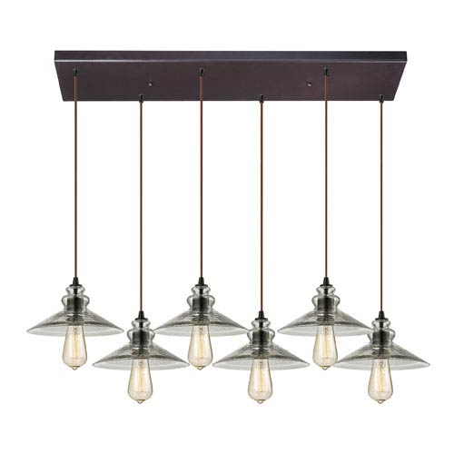 Hammered Glass Oil Rubbed Bronze Six Light Chandelier