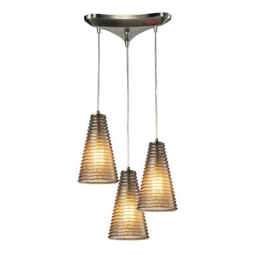 Ribbed Glass Satin Nickel 10-Inch Three Light Chandelier