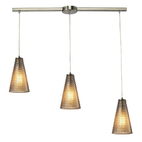 Elk Lighting Ribbed Glass Satin Nickel Three Light Chandelier