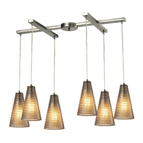 Ribbed Glass Satin Nickel 10-Inch Six Light Chandelier