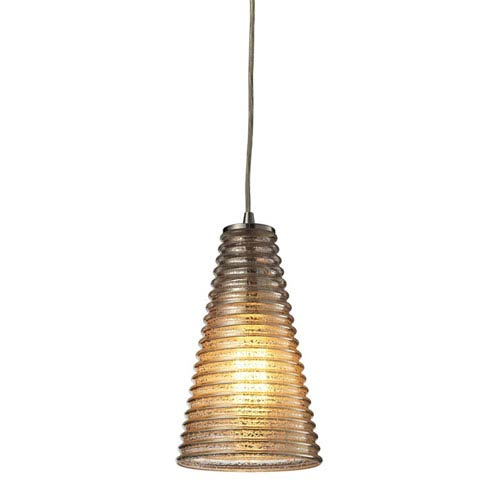 Elk Lighting Ribbed Glass Satin Nickel One Light Mini Pendant