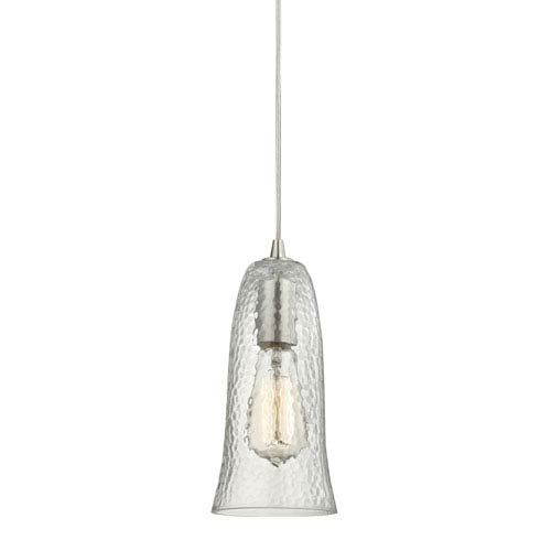 Hammered Glass Satin Nickel One-Light Mini Pendant with Hammered Clear Glass