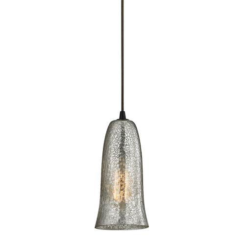 Hammered Glass Oil Rubbed Bronze One-Light Mini Pendant with Mercury Glass