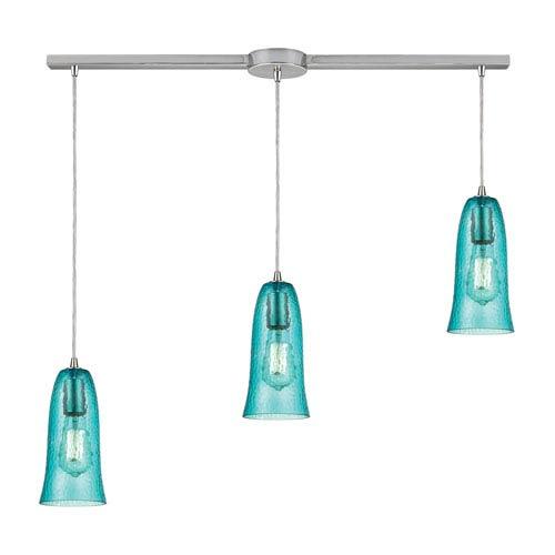 Hammered Glass Satin Nickel Three-Light Ascending Pendant with Aqua Glass