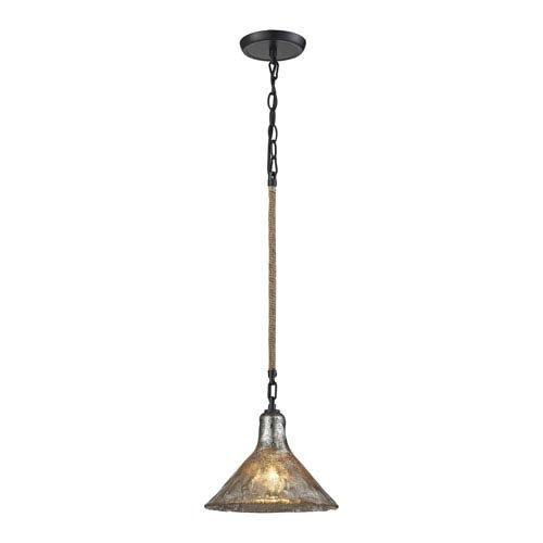 Hand Formed Glass Oil Rubbed Bronze One-Light Pendant