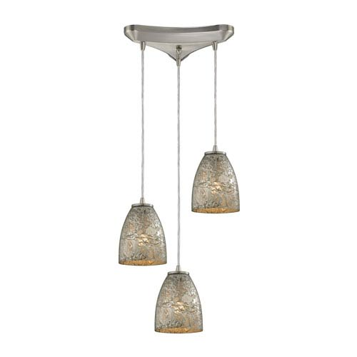 Fissure Satin Nickel Three-Light Pendant with Silver Glass