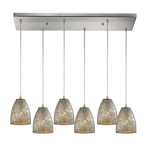 Fissure Satin Nickel Six-Light Pendant with Silver Glass