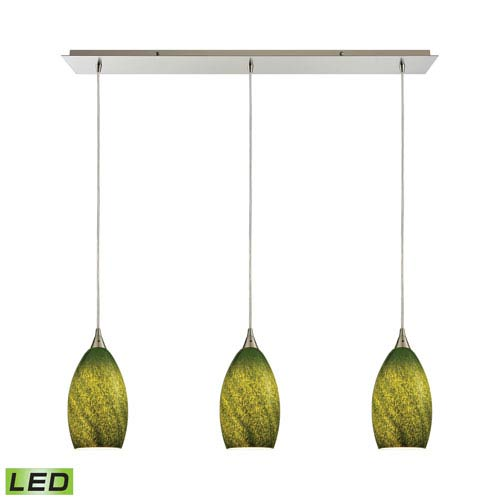 Earth Satin Nickel 36-Inch Three-Light Pendant with Sunlit Grass Green Glass Shades