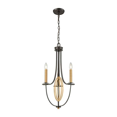 Elk Lighting Dione Oil Rubbed Bronze and Brushed Antique Brass Three-Light Chandelier