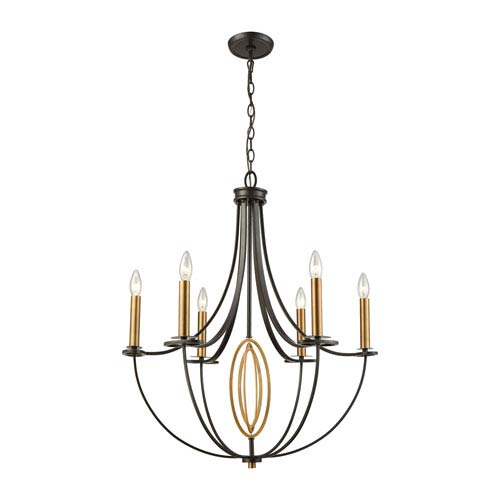 Elk Lighting Dione Oil Rubbed Bronze and Brushed Antique Brass Six-Light Chandelier