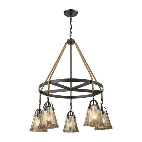 Hand Formed Glass Oil Rubbed Bronze 33-Inch Five-Light Chandelier