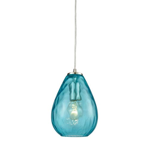 Lagoon Satin Nickel One-Light Mini Pendant with Aqua Water Glass