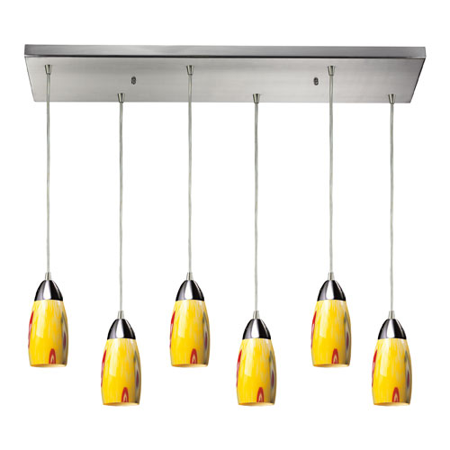 Elk Lighting Milan Satin Nickel Six Light Pendant with Yellow Blaze Glass Shade