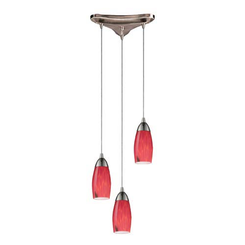 Elk Lighting Milan Satin Nickel Three-Light Mini Pendant with Fire Red Glass