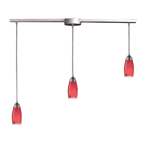 Milan Satin Nickel Three-Light Mini Pendant with Fire Red Glass