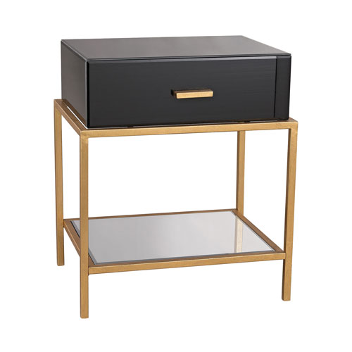 Dimond Home Evans Black Glass One Drawer Side Table