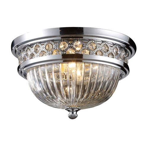Polished Chrome Two-Light Flush Mount