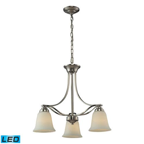 Elk Lighting Malaga Brushed Nickel LED Pendant with Opal White Glass