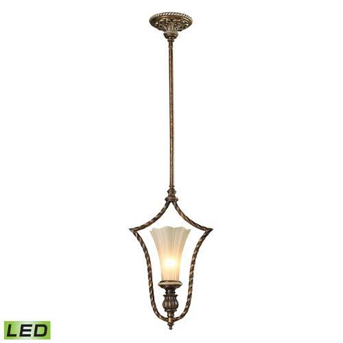 Elk Lighting Allesandria Burnt Bronze and Weathered Gold Leaf LED One Light Mini Pendant