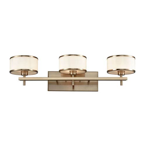 Utica Satin Brass Three-Light Vanity