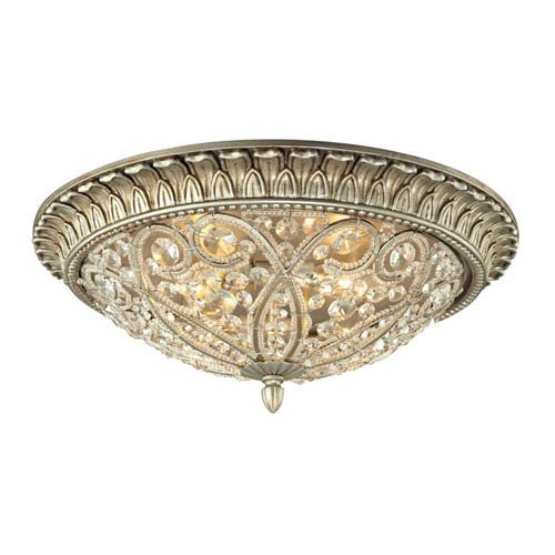 Elk Lighting Andalusia Aged Silver Four Light Flush Mount Fixture