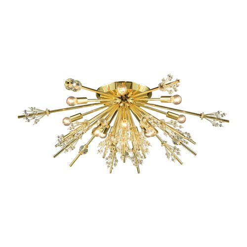 Starburst Polished Gold 34-Inch 12-Light Semi-Flush Mount