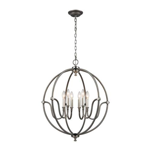 Stanton Weathered Zinc and Brushed Nickel 25-Inch Six-Light Chandelier