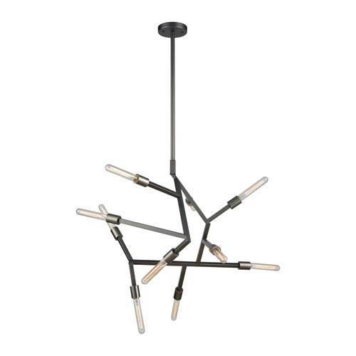 Freeform Aged Black Nickel Ten-Light Chandelier